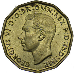 1943 Laiton Trois Pences-George VI british coin-superbe