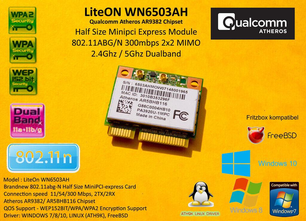 Atheros AR9382 MiniPCI Express 802.11A/B/G/N 300 Mbps WiFi 2.4Ghz 5Ghz
