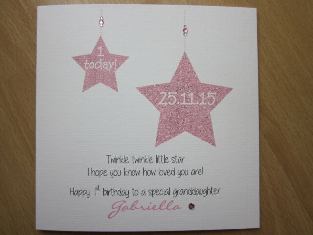 Personalised Handmade Girls 1st First Birthday Card With Twinkle