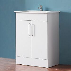Meuble Salle De Bain Meuble Sous Vasque A Poser Avec Vasque Integree 60cm Ebay