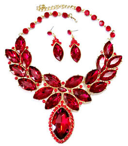 Red-Statement-Necklace-Earring-Crystal-Rhinestone-Bridal-Pageant-Prom-Jewelry