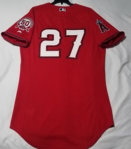 the latest 95c9e cabd7 Details about Authentic Majestic 40 MED LOS ANGELES ANGELS MIKE TROUT COOL  BASE ROOKIE Jersey