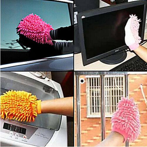 Doppelseitige Handschuh Mikrofaser Auto Staub waschen Handschuh Handtuch Soft WR