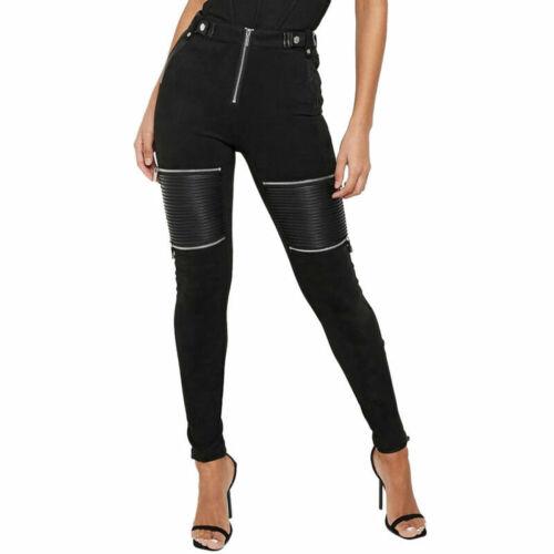 Damen Leder Optik Skinny Leggings Röhre Jeggings Punk Hohe Taille Freizeithose