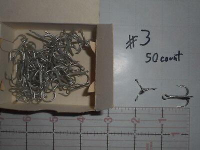 50 MUSTAD sz 6 TREBLE ROUND HOOKS RINGED CADM /& TIN FRESHWATER SPINNER 35646