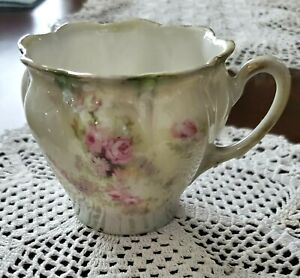 Antique RS Prussia Floral Tea Cup- Iridescent Glaze Over Hand Painted Pink Flora