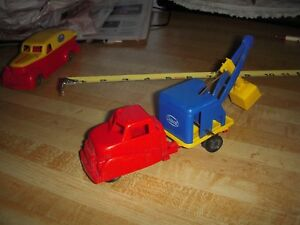 Vintage-Ideal-Plastic-Toy-Car-Toy-Truck-Backhoe-Steam-Shovel-Dodge-IH-Studebaker