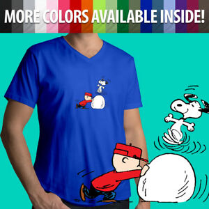 Peanuts-Snoopy-Dance-Charlie-Brown-Winter-Snow-Comics-Mens-Tee-V-Neck-T-Shirt