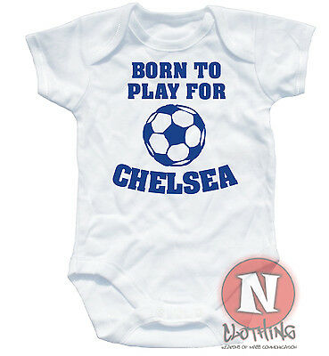 Naughtees Clothing Born To Play For Chelsea Cute Football Babygrow Baby Suit New