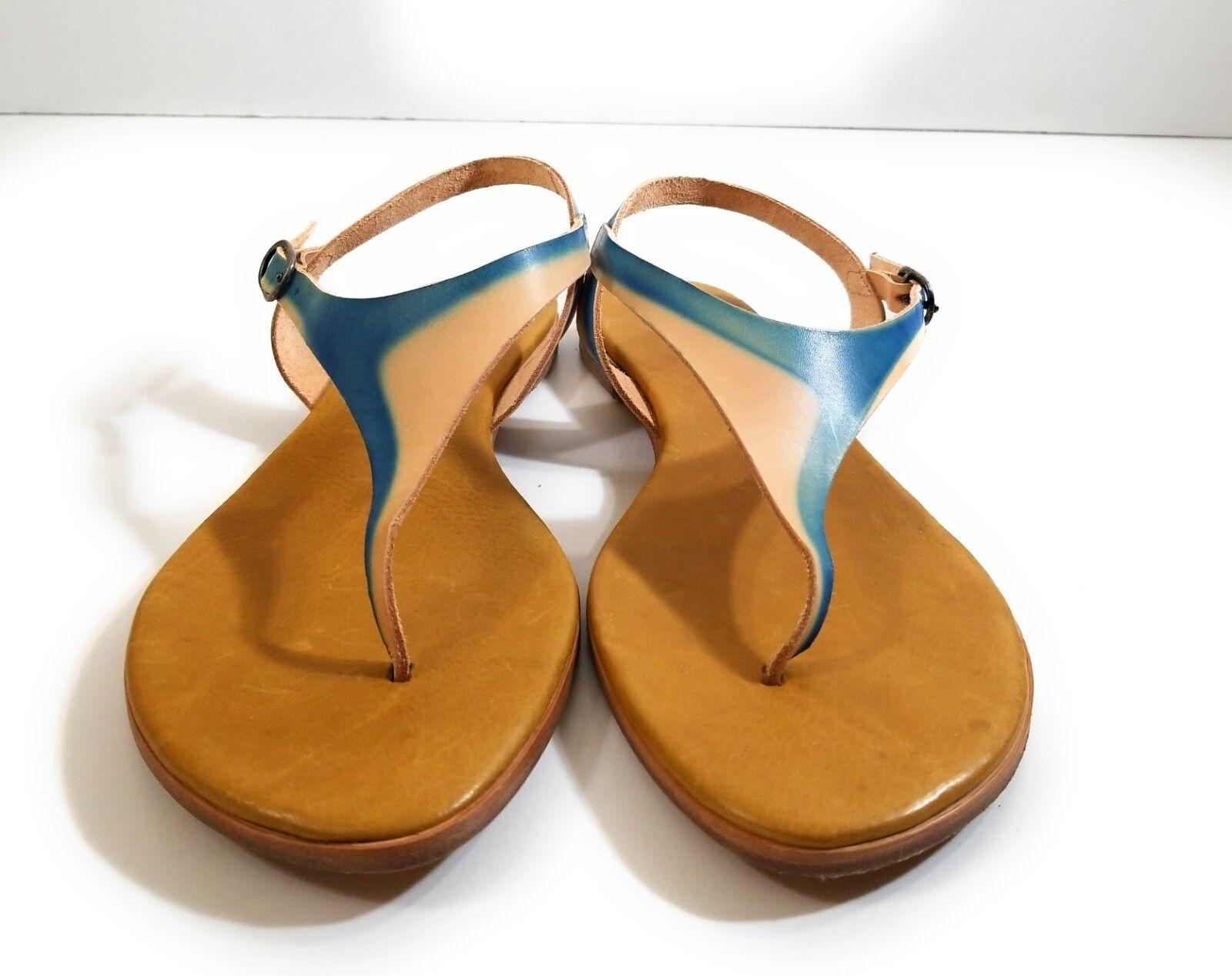 New Coclico donna blu Marronee Leather Flats Ankle Strap Sandals Sandals Sandals Thong scarpe Sz 40 36709e
