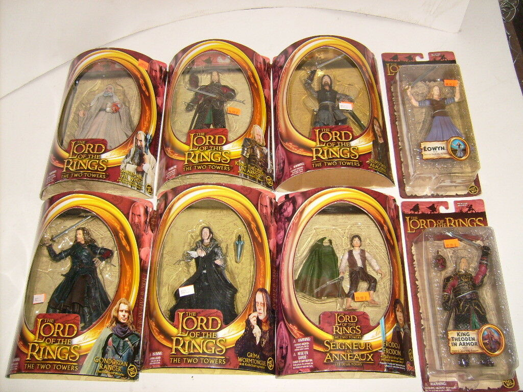 8 LORD OF THE RINGS FRODO GRIMA THODON ARAGORN RANGER EOWYN  TOY BIZ LOTR LOT