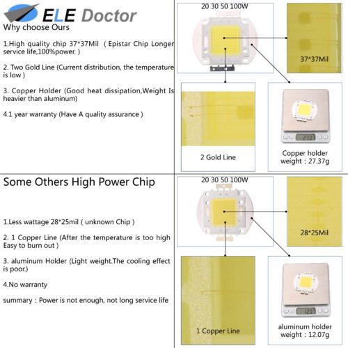 10W 20W 30W 50W 100W White Royal Blue RGB Yellow Red Green High Power COB LED