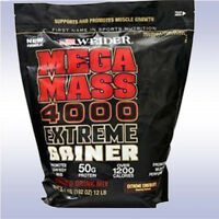 Weider Mega Mass 4000 (12 Lb) Extreme Gainer Protein Bcaa Muscle Powder