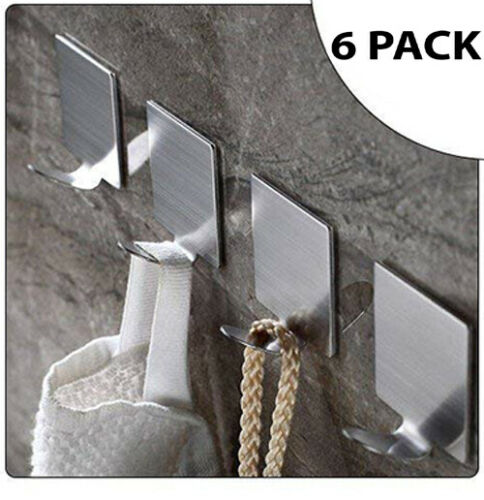 Self Adhesive Hooks Stainless Steel Strong Silver Sticky Stick on Wall Door Hang