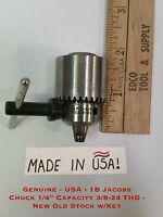 """Genuine - Usa - 1b Jacobs Chuck 1/4"""" Capacity 3/8-24 Thd - Old Stock Withkey"""