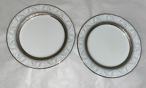 2-Vintage-Noritake-China-Encrusted-Luncheon-Plates-034-MAJESTIC-PLATINUM-4291-034