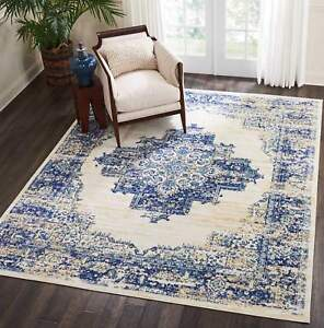 Details about Throw Rug Oriental Contemporary Blue Living Room Bedroom Big  Area Floor Mat 8x10