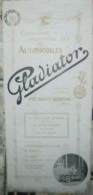 * Automobiles Gladiator Brochure Catalogue Francais 1908 Rare *