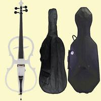 Full Size 4/4 Electric Silent Cello Pickup+Bag+Case+4/4 Cello Bow+Bridge-White