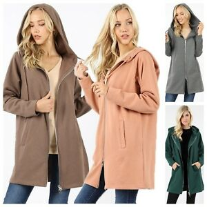 Women-039-s-Long-Sleeve-Two-Way-Zipper-Hoodie-Sweatshirt-Coat-Pocket-Tunic-Top-Plus