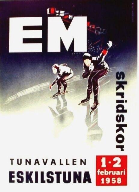 Original vintage poster ICE SPEED SKATING EC 1958 SWEDEN