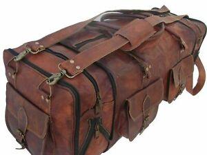 "30/"" Real Brown Leather Duffel Bag Sports Gym Bag weekend Travel Luggage Bag"
