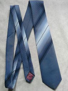 Vintage Cravate Dunn & Co Homme Cravate Rétro Fashion Bleu Marine à Rayures Bleu-afficher Le Titre D'origine