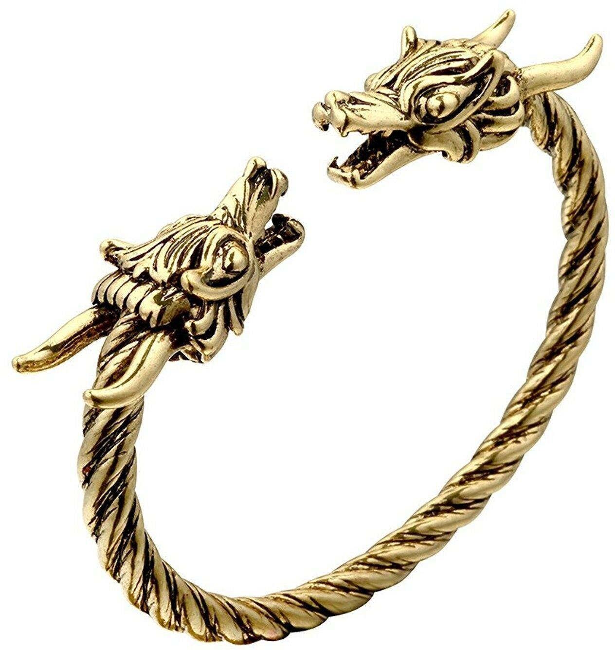 Unisex 18K gold Plated Double Dragon Head Cuff Open Adjustable Spiral