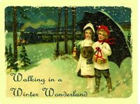 Walking In A Winter Wonderland Christmas Snow Couple Love Holiday Metal Sign