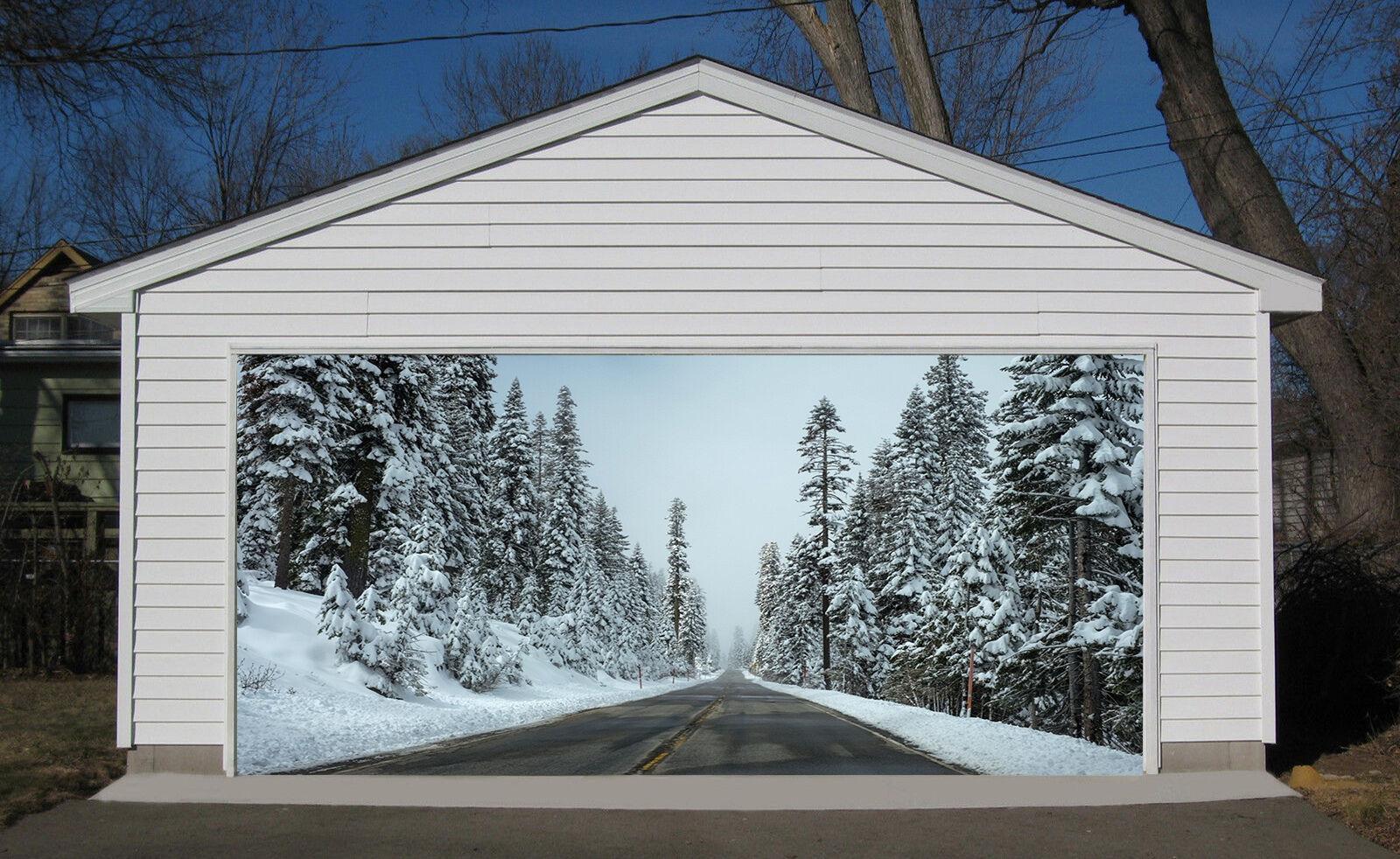 3D Snow, road Garage Door Murals Wall Print Decal Wall Deco AJ WALLPAPER UK