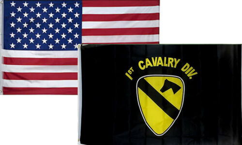 Army 1st Cavalry Div Flag 3/'x5/' 2 Pack 3x5 Wholesale Combo USA American /& U.S