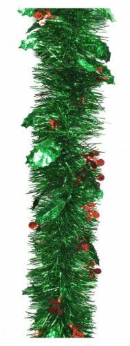 Green Decorative Guirlandes avec laser Holly Baies Noël 2 M Longueur