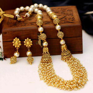 South Indian Bollywood Traditional Gold Plated Pearl Earing Necklace Jewelry Set