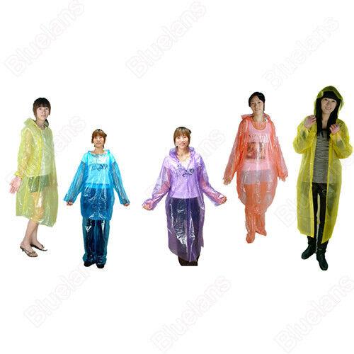 2x Disposable Men Women Hooded Waterproof Raincoat Cloak Emergency Poncho