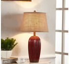 Red Retro 1 Light Cloth Lampshade+Ceramic Height 62CM Decoration Table Light