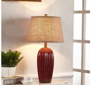 Red-Retro-1-Light-Cloth-Lampshade-Ceramic-Height-62CM-Decoration-Table-Light