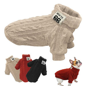 Knitted-Dog-Sweater-Chihuahua-Clothes-Winter-Knitwear-Pet-Puppy-POLO-Neck-Jumper