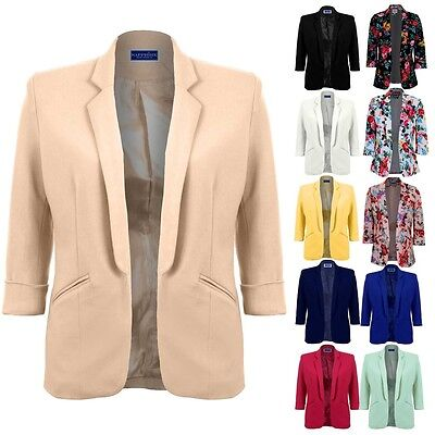 Women's Open Front 3/4 Ricomparso Manica Donna Ufficio Smart Giacca Blazer 8-16-mostra Il Titolo Originale Completa In Specifiche