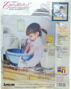 Counted-Cross-Stitch-17-21-Embellished-Cookies-for-Daddy-New-Vintage-2001