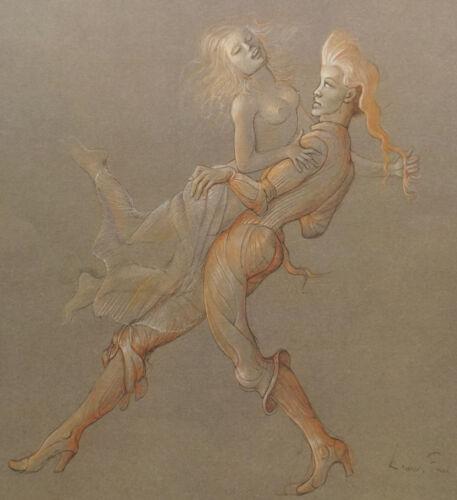 """auf Karton /"""" Das Liebende Tanzpaar Akt /""""Sieb//Offsetdruck unl.Drucksignatur"""