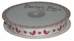 Bertie-039-s-Bows-Folk-Birds-with-Hearts-Print-Grosgrain-Ribbon-1m16mm-Red-Cream