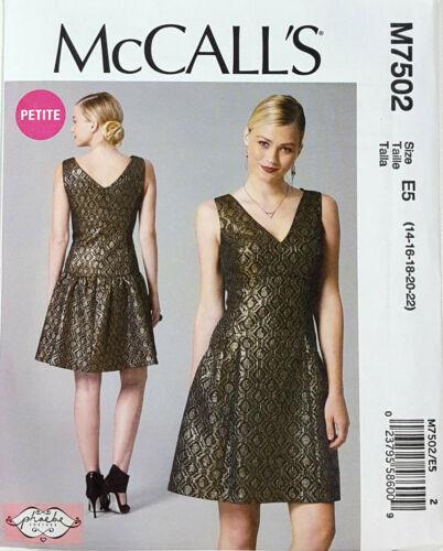 McCALL/'S PATTERN DRESS MISSES/' /& MISS PETITE SIZE 14-22 UNCUT # M7502