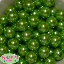 20mm Lime Green Acrylic Faux Pearl Bubblegum Beads 20pc Chunky Jewelry Necklace