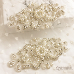 Wedding Dress Applique Rhinestone Crystal Trimming DIY Motif Bridal Pearl Bead