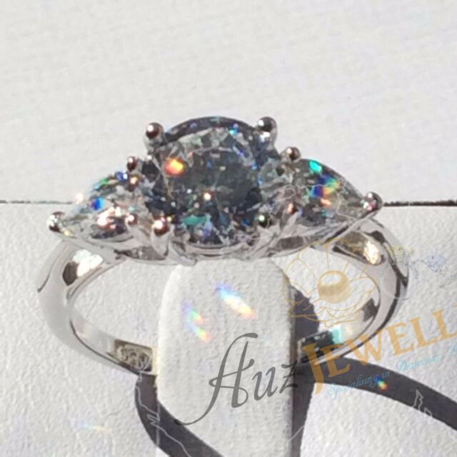 Three-Stone Round & Pear Shape CZ Real 925 Solid Sterling Silver Engagement Ring