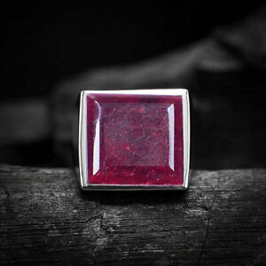 925-Sterling-Silver-Certified-Natural-Pink-Ruby-Corundum-Christmas-Mens-Ring
