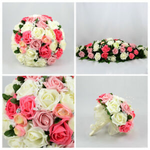 Details About Silk Artificial Wedding Flowers Pink Coral Ivory Bouquet Posy Table Decoration
