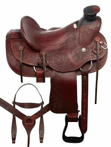 "16"" RANCH WORK WESTERN WADE TREE ROPING LEATHER HARD SEAT HORSE SADDLE TACK SET"