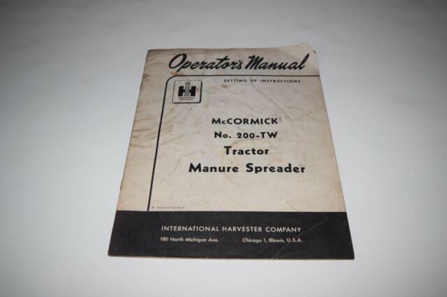 International Harvester McCormick 20 manure spreader set up manual