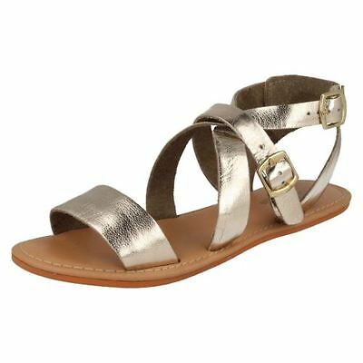 Leather Collection F0924 Ladies Tan Leather Slingback Buckle Sandals